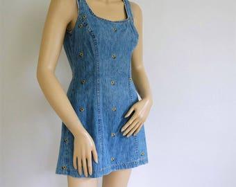 Vintage Denim Sun Dress Sunflower Mini Blue Jean Summer Shift Short Size Small