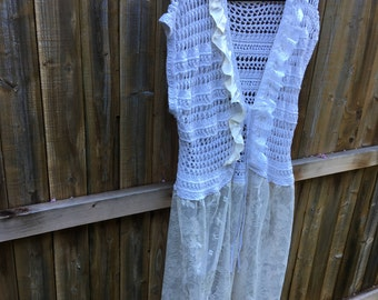 Altered Women's Crocheted Top, White  Lacy Jacket, Magnolia Style, X Large,Lace Bottom, Shabby Chic, Romantic, Lagenlook, Lace Embellished