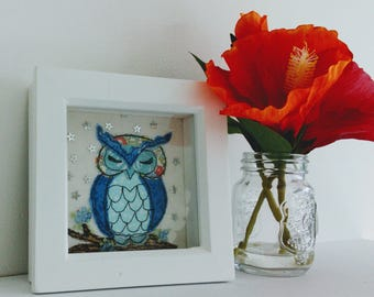 Mini embroidered owl in Liberty of London fabrics with tiny stars in the sky