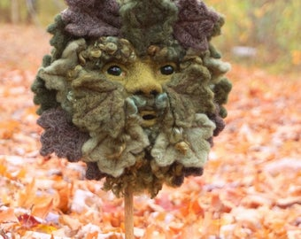 Needle Felted Green Man Soft Sculpture by Bella McBride Greenman