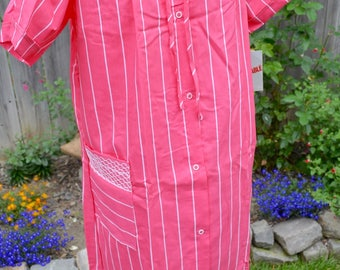 Vintage House Dress Summer Robe - NWT Sears Snap Front Housecoat - Pink White Stripe - SM