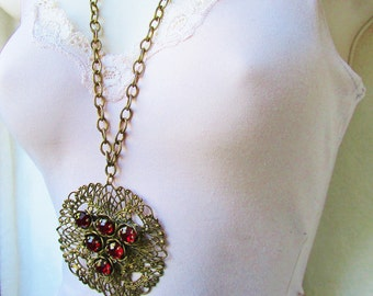"Antique Brass Victorian Ruby Red Crystals Intricate Filigree Art Nouveau Figural Pendant Necklace Chunky LInks 30"" Chain Rare Statement"