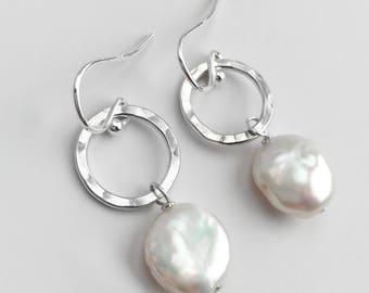 Pearl Drop Earrings - Sterling Silver Earrings - Coin Pearl Dangle Earrings - Silver Circle Earrings - June Birthstone - Everyday Earrings