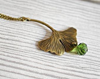 Ginkgo Leaf Bronze Necklace