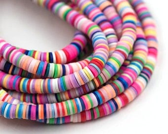 polymer Clay Disc beads, Rainbow, 6mm, 1 Strand  -B12