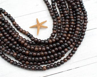 8mm Bone Beads,  Brown Bone Beads, 15 inch Strand,  Round,   Bone Spacer Beads -BN48