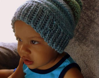 Hand Crochet Baby Hat, Slouch Hat, Winter Hat, Baby Accordion Hat, Children Accessories Winter Hat in Light Blues and Greens