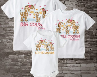 Set of Three, Personalized Big Cousin and Middle Cousin and Little Cousin Giraffes, Shirt and Onesie Set 04072015f