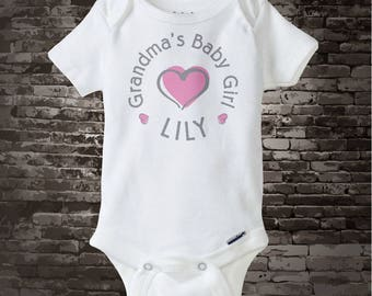 Girl's Personalized Grandma's Baby Girl with Pink Heart Onesie or Tee Shirt (04162015g)