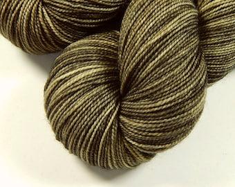 Hand Dyed Yarn - Sock Weight Superwash Merino Wool Yarn - Potluck Bronze - Indie Dyed Fingering Knitting Yarn, Rustic Neutral Tonal
