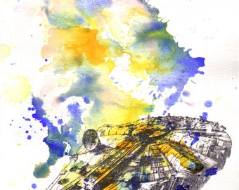 Star Wars Art Millenium Falcon Watercolor Painting - Fine Art print 13 x 19 in. Star Wars Poster Print