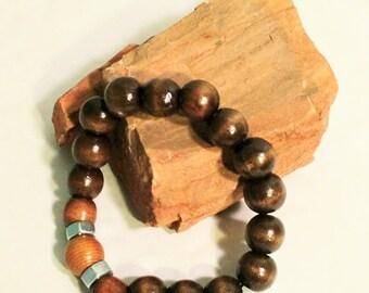 Men Bracelets, Male Beaded Bracelets|Wooden Handmade Bracelets|Geometric African Bracelets|Afrocentric Bracelets by Crittique|BR0013