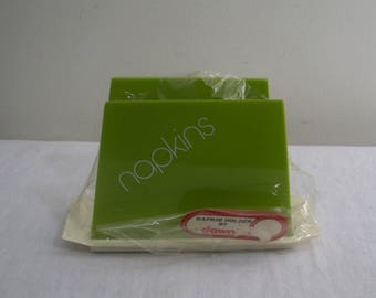 Vintage Avocado Green Plastic Napkin Holder - NOS