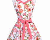 Sweetheart Retro Apron - Womens Cute Orange Rose Floral 50s Style Pinup Vintage Pinup Apron with Monogram Option (DP)