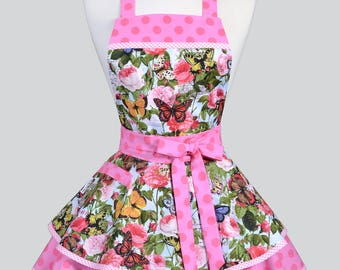 Womens Ruffled Retro Apron - Pink Butterflies and Polka Dot Womans Vintage Style Pinup Kitchen Apron to Personalize or Monogram
