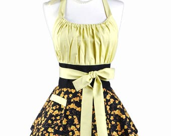 Womens Flirty Chic Apron - Black Bountiful Leaves Cute Retro Vintage Pinup Kitchen Cooking Apron with Full Skirts and Empire Waist (DP)