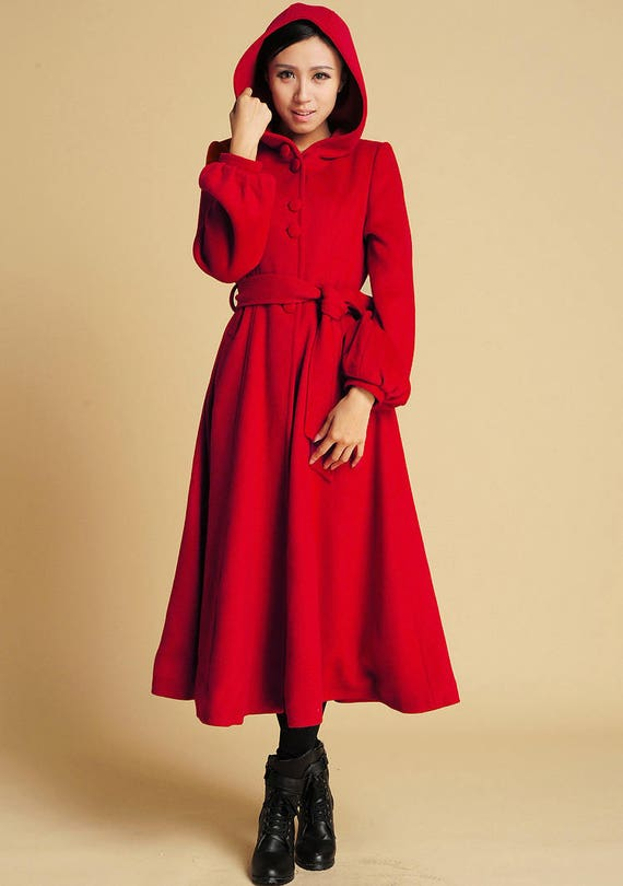 Red Wool coat Swing Coat hooded coat maxi coat long coat