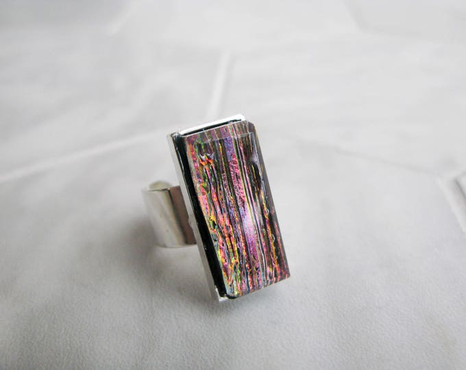 avant garde, gift for her, rectangle glass cocktail ring, large dichroic glass ring, multicoloured glass, statement ring, costume jewelry
