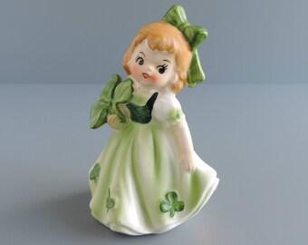 Vintage Lefton Irish Shamrock Girl Figurine #403, Good Luck Clover, Mid-Century March Birthday Month Figural, Made in Japan