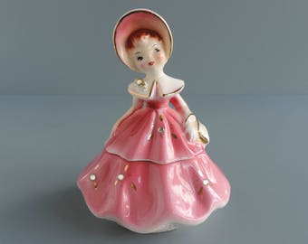 """Vintage Enesco """"Golden Girls"""" Figural Trinket Box, Girl in Bonnet with Pink Dress and Rhinestones, Scarce Mid-Century Collectible Figurine"""