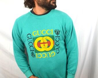 Vintage 80s GUCCI GG LOGO Distressed Green Sweatshirt