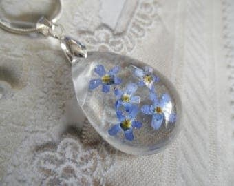 Remember Me Always-Sky Blue Forget-Me-Nots Encased In Glass Pressed Flower Teardrop Pendant-Symbolizes True Love, Remembrance, Memories