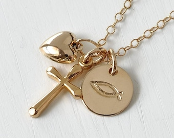 Small Gold Fill Jesus Fish Ichthys Symbol Cross Heart Necklace / Christian Jewelry / Confirmation Gifts
