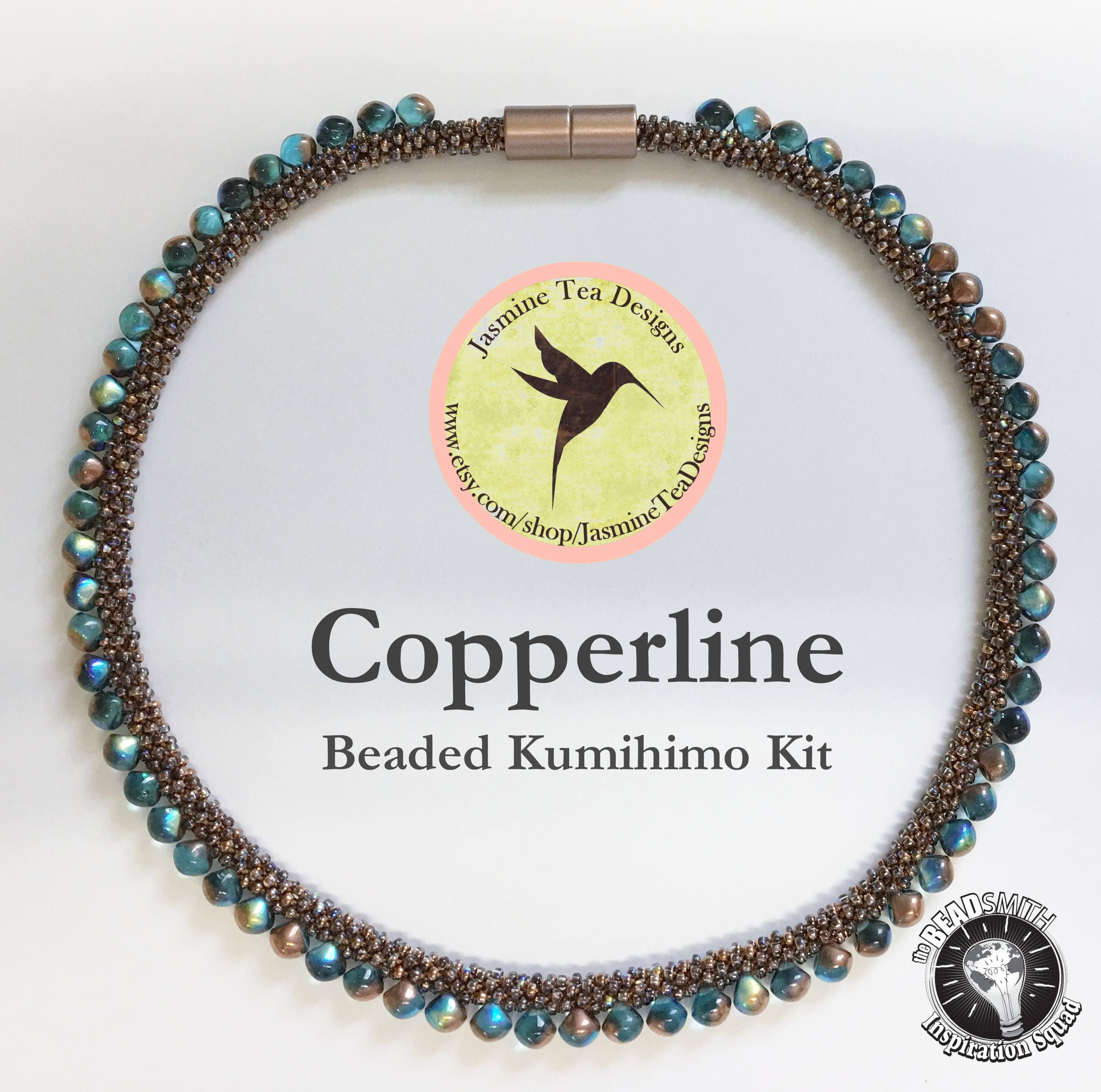 Crystal Copper Rainbow And Aqua Copper Rainbow Beaded Kumihimo Necklace Kit Loading