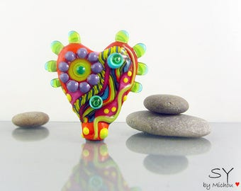 Jewel  - 1 free shapped lampwork bead - Art Glass -  it's a original  Michou P. Anderson Design (registered Label Sonic and Yoko )
