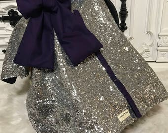 CAR SEAT COVER / car seat canopy / nursing cover / carseat cover / carseat canopy / ooak / sequin / infant car seat cover / silver / sparkle