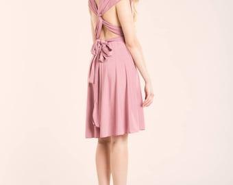 SALE 20% OFF Powder pink dress, light pink short dress, powder pink short dress, light pink dress, knee length infinity dress, short dress