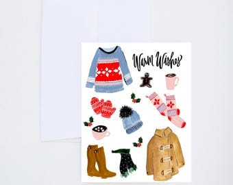 Holiday Greeting Cards - Warm Wishes - Winter Clothing Illustration - Single A-2 Card