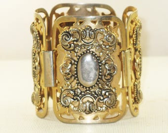 Vintage Marino Huge Victorian Revival Bronze Gold and Silver Plated Floral Repousse Bracelet (BR-4-1)