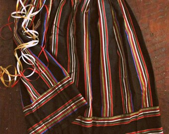 Vintage 80s ribbon striped skirt / Holiday Party shimmer striped skirt