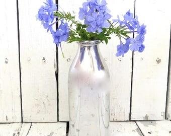 Chrome Milk Bottle, Silver Vase, Flower Vase, Country Kitchen, Cottage Chic, Primitive Decor, Silver Bottle, Farmhouse Kitchen, Shabby Decor