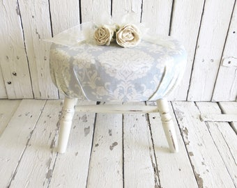 Vintage Stool, Step Stool, White Wood Stool, Cushion Stool, Shabby and Chic, French Cottage Farmhouse, Oval Stool, Blue Damask Stool