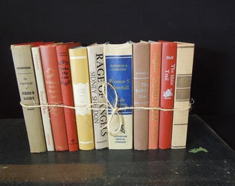 Books by the Foot  - Beige Rust Tan - Neutral Books for Decor - Vintage Book Stack - Bookshelf Decoration