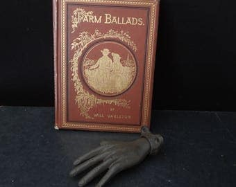 Antique Gilded Book Vintage - Farm Ballads Will Carleton - Illustrated Poetry Poems 1873 - Ornate Vintage Book