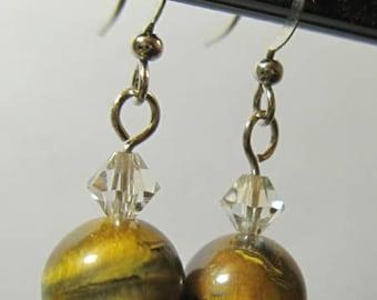 Handmade Tigereye Swarovski Crystal Earrings
