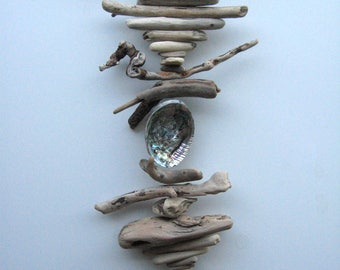 Driftwood Mobile With Pink Abalone Shell-DC1279