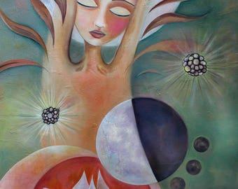 lotus flower enlightenment painting art zen buddhism buddah formless Oneness firgurative print