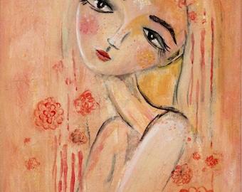 Starchild painting art print feminine figurative whimsical floral woman starry eyed third eye peach girl