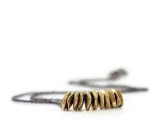 Gold Nuggets Necklace / Brass Necklace / Gold Brass Nuggets / Simple Minimalist / Brass Jewelry