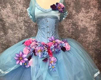Size Small ooak blue fairy Burlesque under bust Corset Dress with flowers and roses Ready to ship