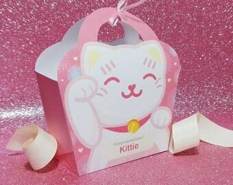 Kawaii Pink Lucky Cat Giftbag Cute Love Manekineko Neko Birthday Party Treat basket Bag Packaging Editable Printable PDF