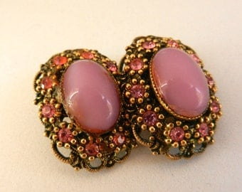 Gorgeous Earrings 1950 - Wonderful light old rose - gold and crystals--Art.741/2 -