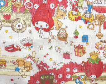 Hello Kitty, My Melody Fabric, Japanese Cotton Print / Red Oxford Fabric, 1 Yard, Kawaii Sanrio Character Fabric, Cute Strawberry King, jf19