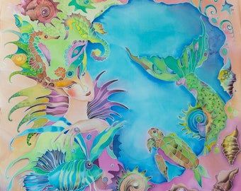 Mermaid-Queen Hand Painted Silk Scarf Wall Decor For Mermaid Lovers Ready to Ship