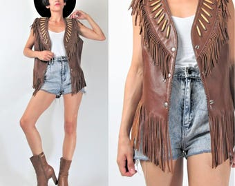 80s Vintage Leather FRINGE Vest Hippie Boho Biker Rocker Leather Vest Native American Brown Leather Vest Tribal Snaps Bone Beads (M) E101044