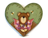Bear with Flowers on Heart Shaped Plaque, Handpainted Wood, Hand Painted Prim Country Home Decor, Tole Decorative Painting